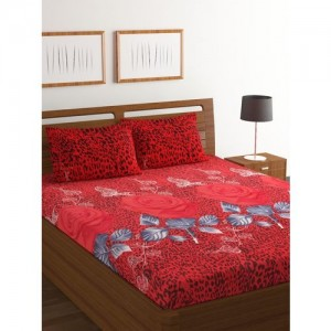 Bombay Dyeing 160 TC Polyester Double Floral Bedsheet(Pack of 1, Maroon)