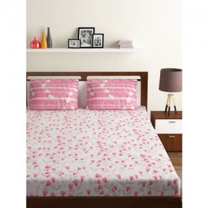 BOMBAY DYEING Pink & Blue Floral 130 TC Polycotton 1 Double Bedsheet with 2 Pillow Covers