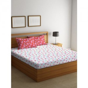 BOMBAY DYEING White & Red Printed Flat 120 TC Cotton 1 Queen Bedsheet with 2 Pillow Covers