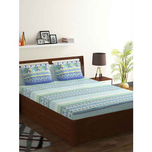 Bombay Dyeing 130 TC Polycotton Double Motifs Bedsheet(Pack of 1, Green)