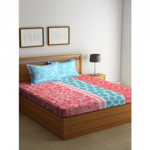 BOMBAY DYEING Blue Abstract Flat 144 TC Cotton 1 Doible Bedsheet with 2 Pillow Covers
