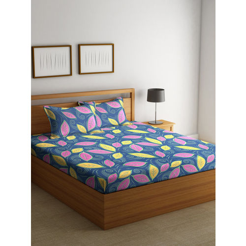 BOMBAY DYEING Blue Abstract Flat 120 TC Cotton 1 Queen Bedsheet with 2 Pillow Covers