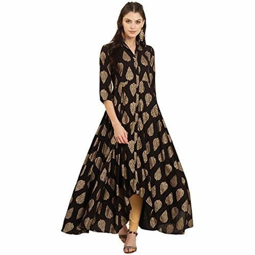 IVES Ives Black Viscose Rayon Ethnic 3/4th Sleeves Kurta For Women