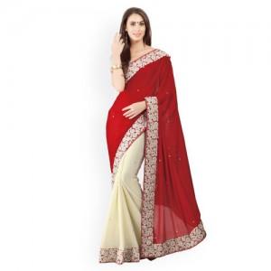 Triveni Red & Beige Poly Georgette Embellished Saree
