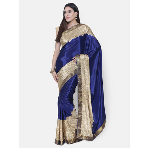 Chhabra 555 Navy Blue Printed Saree