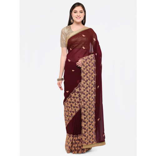 Triveni Chiffon Brown Party Wear Border Worked Contemporary