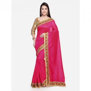 Triveni Chanderi Silk Pink Party Wear Border Worked Contemporary