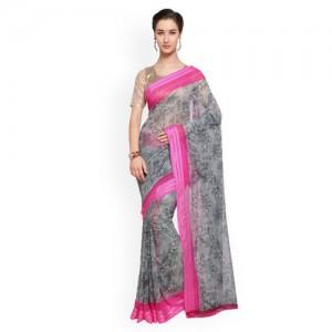 Triveni Printed Fashion Faux Georgette Saree(Grey)