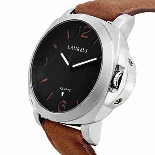 Laurels Invaders Large Black Dial Date Function Wrist Watch - For Men
