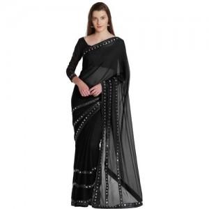 Mirchi Fashion Embellished Bollywood Chiffon Saree(Black)
