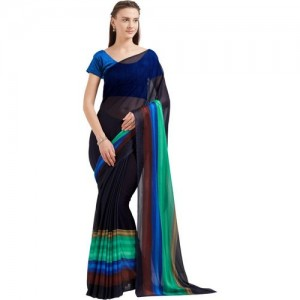 Mirchi Fashion Printed Fashion Faux Georgette Saree(Blue)