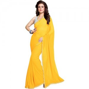 Mirchi Fashion Solid Bollywood Synthetic Georgette Saree(Yellow)
