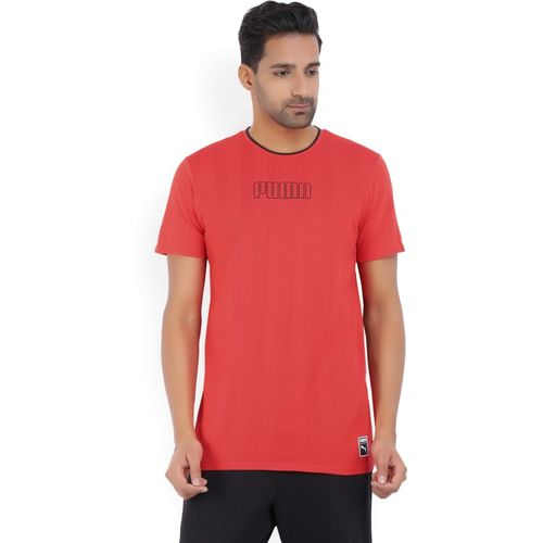 Puma Striped Men's Round Neck Red T-Shirt