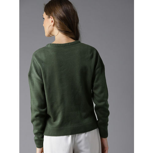 HERE&NOW Women Olive Green Solid Pullover