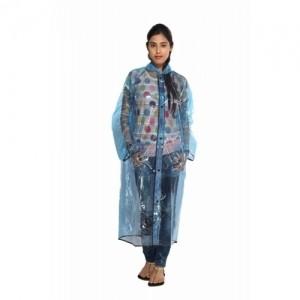 Versalis Blue Polyester Solid Women's Raincoat