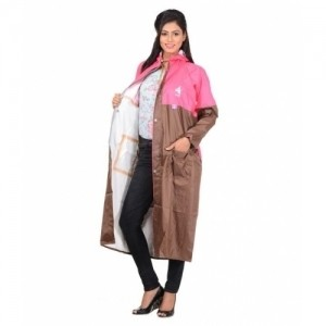ALLWIN Brown Polyester Solid Women's Raincoat