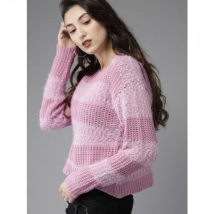 HERE&NOW Women Lavender Striped Crop Pullover Sweater