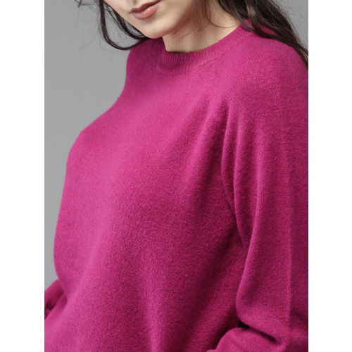HERE&NOW Women Fuchsia Solid Pullover