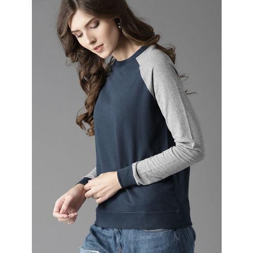 HERE&NOW Women Navy Blue and Grey Melange Solid Sweatshirt