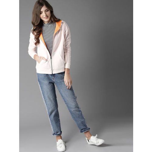 HERE&NOW Women White & Orange Solid Hooded Reversible Sweatshirt