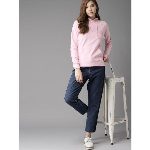 HERE&NOW Women Pink Solid Hooded Sweatshirt