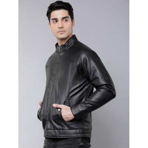 LOCOMOTIVE Black Polyurethane Solid Biker Jacket