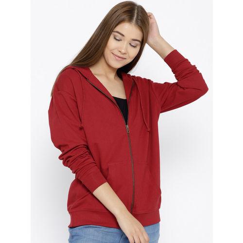 HERE&NOW Maroon Solid Hooded Sweatshirt