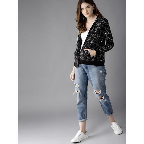 HERE&NOW Black & White Printed Hooded Sweatshirt