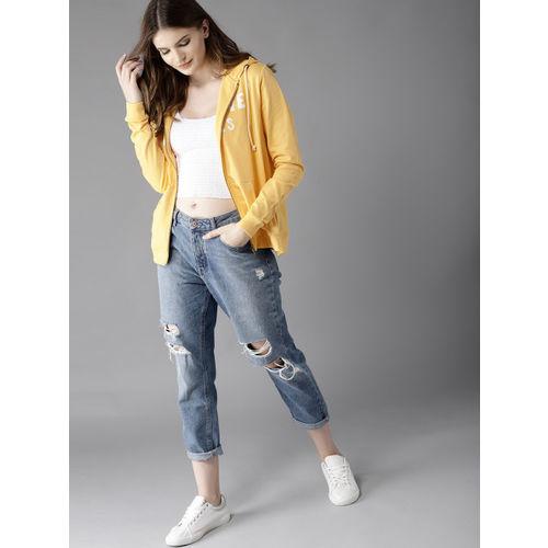HERE&NOW Women Yellow Printed Hooded Sweatshirt