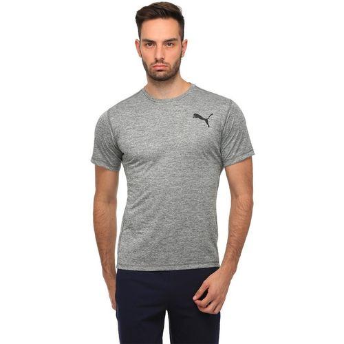 Puma Solid Men Round Neck Grey T-Shirt