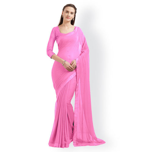 Mirchi Fashion Pink Soid Poly Chiffon Saree