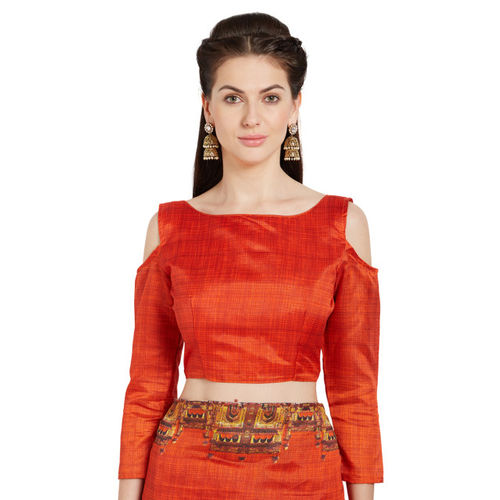 Mirchi Fashion Orange Printed Art Silk Saree