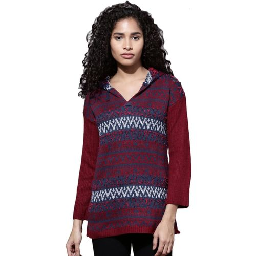 Roadster Self Design Round Neck Casual Women Maroon Sweater