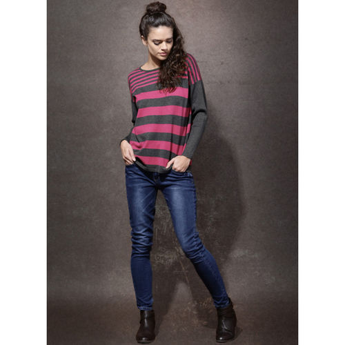 Roadster Pink Striped Pullover Sweater