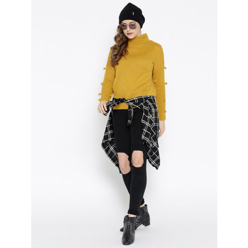 Roadster Women Mustard Yellow Solid Pullover