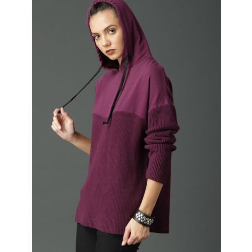 Roadster Women Purple Solid Pullover Sweater