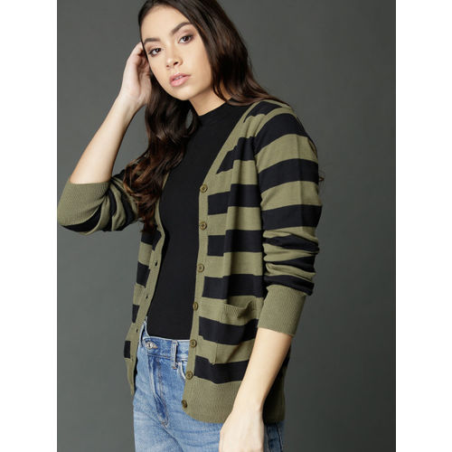 Roadster Women Olive Green & Black Striped Cardigan