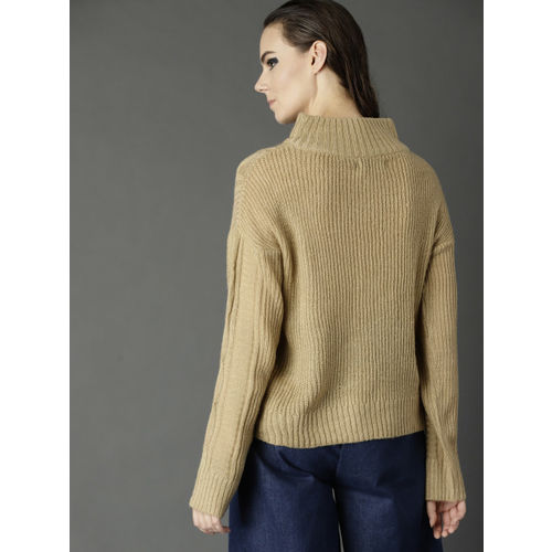Roadster Women Beige Cable Knit Pullover