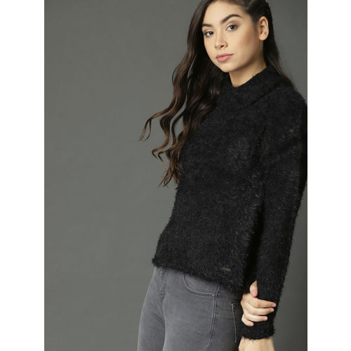 Roadster Women Black Solid Fuzzy Pullover