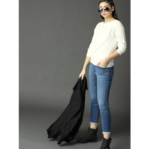 Roadster Women Off-White Solid Pullover