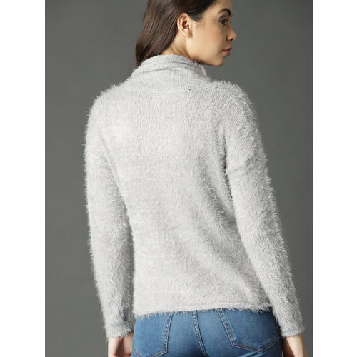 Roadster Women Grey Solid Fuzzy Pullover