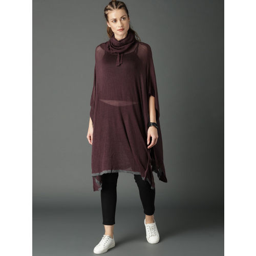 Roadster Purple Ribbed Poncho