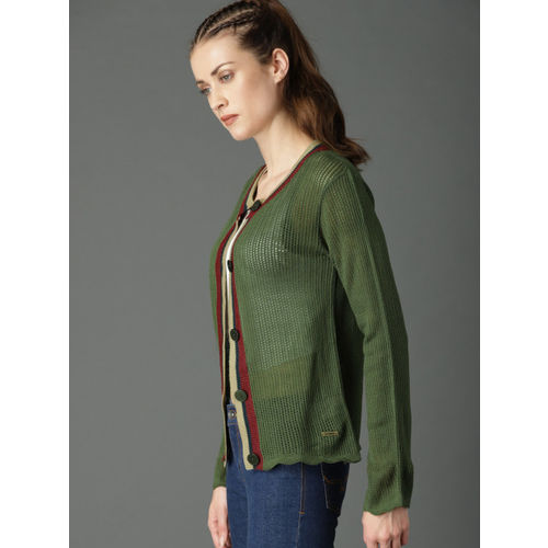 Roadster Green Solid Cardigan