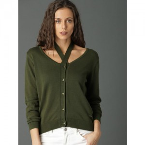 Roadster Women Olive Green Solid Cardigan