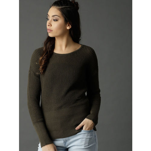Roadster Women Olive Green Open Knit Pullover