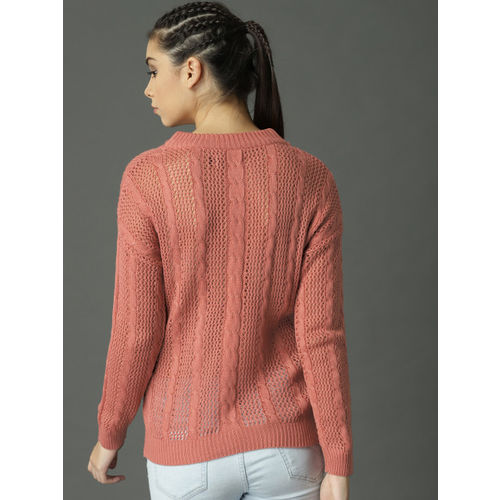 Roadster Women Dusty Pink Self Design Pullover