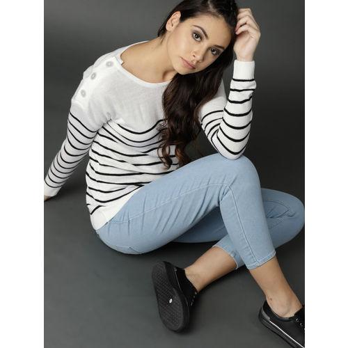 Roadster Women White & Black Striped Pullover