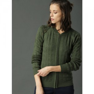 Roadster Women Green Self Design Cardigan