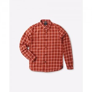 INDIAN TERRAIN Cotton Checked Shirt with Elbow Patches