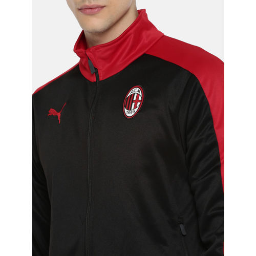 Puma Men Black & Red Solid AC Milan T7 Track dry-CELL Sporty Jacket